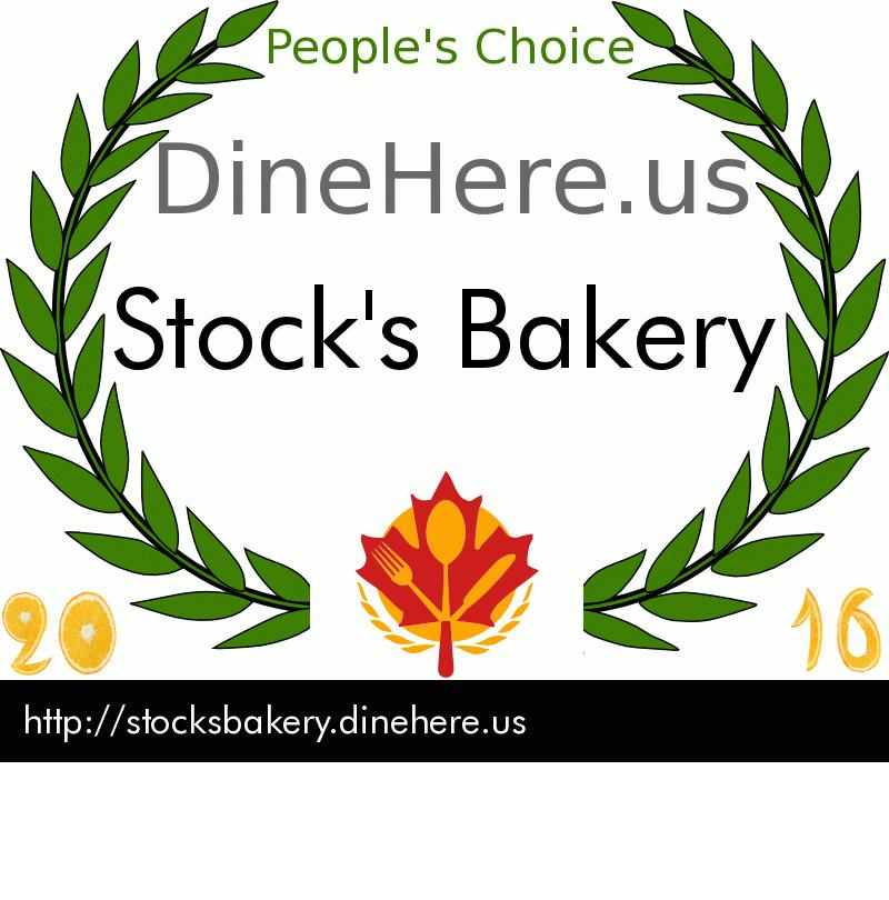 Stock's Bakery DineHere.us 2016 Award Winner